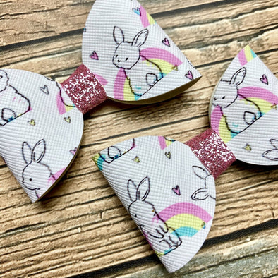 Rainbow Bunnies Piggy Bows