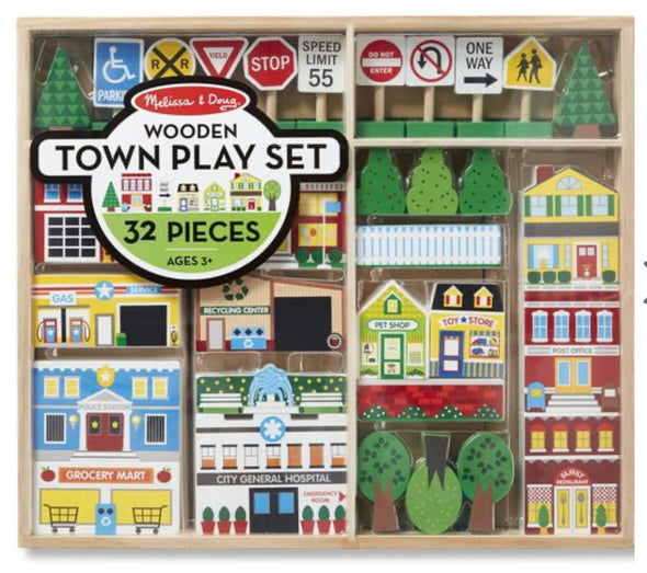 Preorder- Melissa and Doug Wooden Town Set