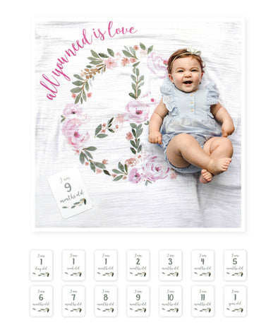 Lulujo Baby's First Year Blanket and Cards Set