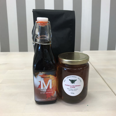 Local coffee, maple syrup and honey combo!