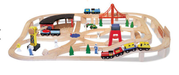Preorder- Melissa and Doug- Wooden Train Set