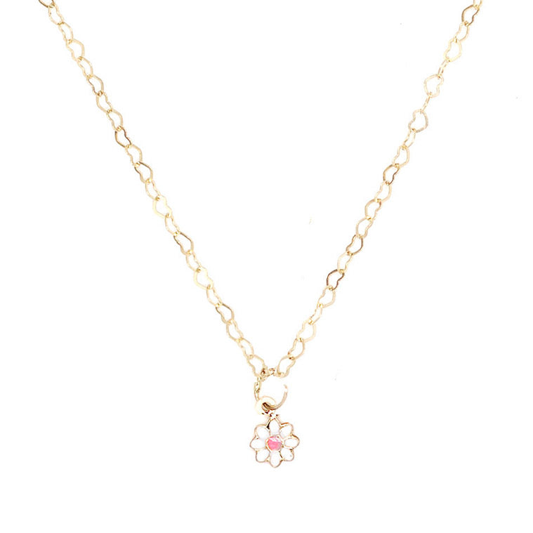 14K Daisy Enamel Cat Charm Necklace