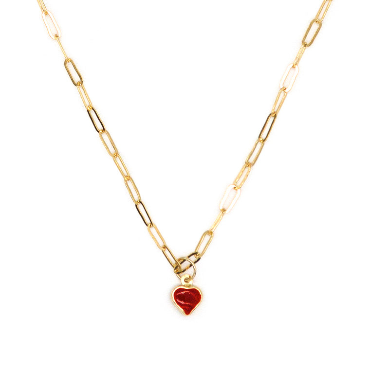 14K Red Heart Enamel Cat Charm Necklace