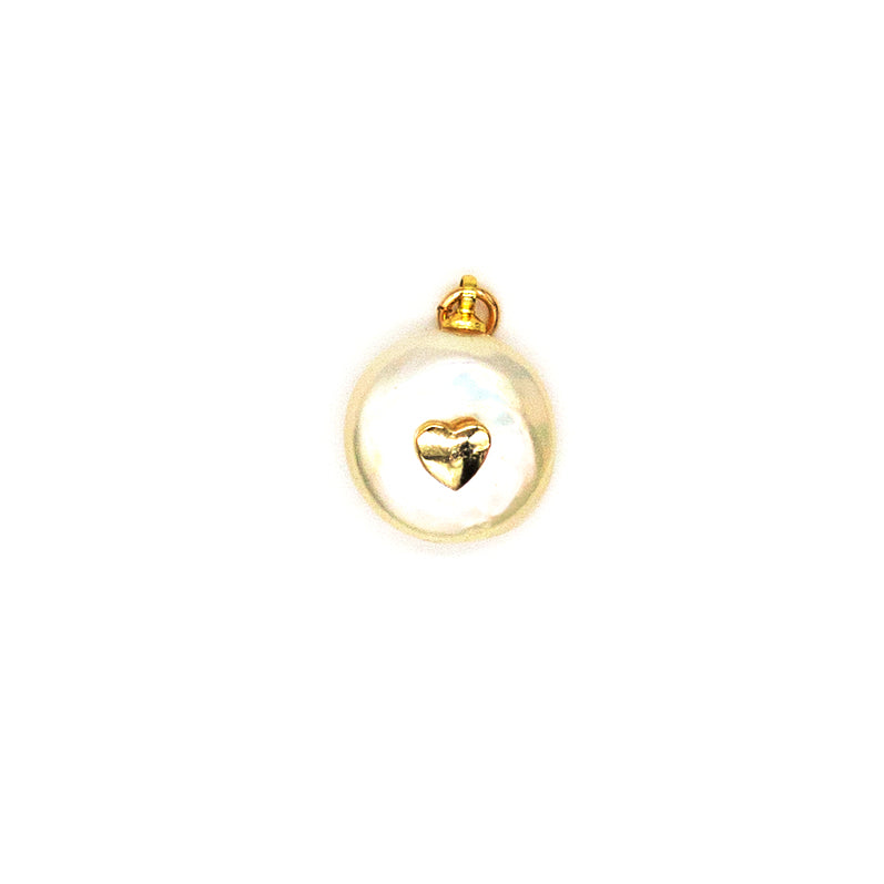 Pearl Gold Heart Charm