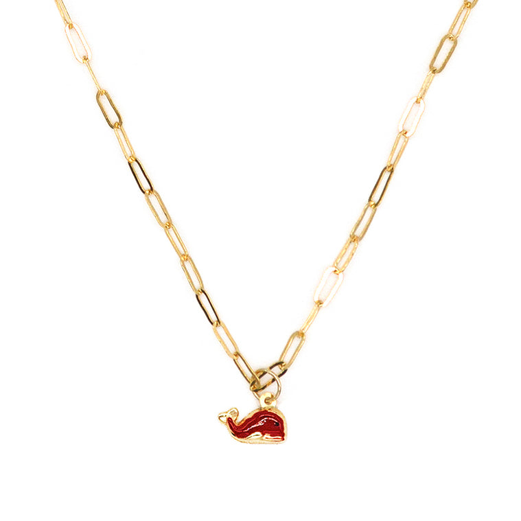 14K Red Whale Enamel Necklace