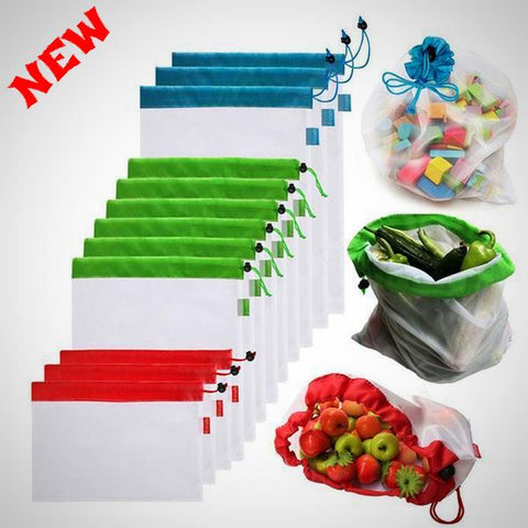 ZERO-WASTE REUSABLE PRODUCE BAGS - 12PCS - E-Silvar Store
