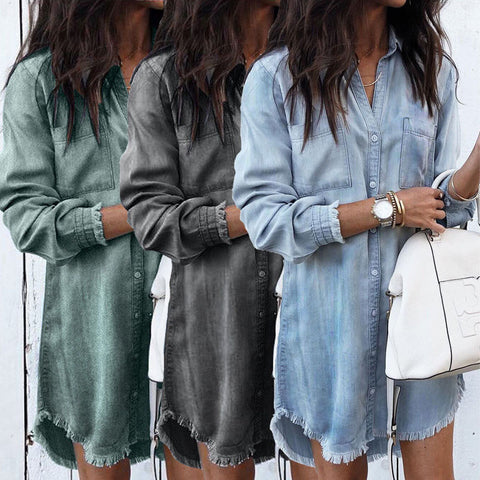 Fashion Autumn Women Dress Lady Long Sleeve Denim Shirt Dress Casual Turn-down Collar Women Dresses Tassels Loose Party Clothes - E-Silvar Store