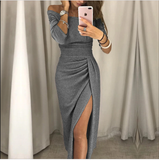 2019 new fashion lady sexy one-shoulder dress autumn long-sleeve knee-length dress - E-Silvar Store