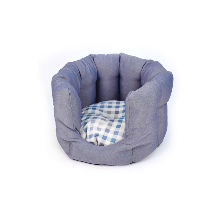 Blue chequered fabric ecofriendly cat bed project blu bengal