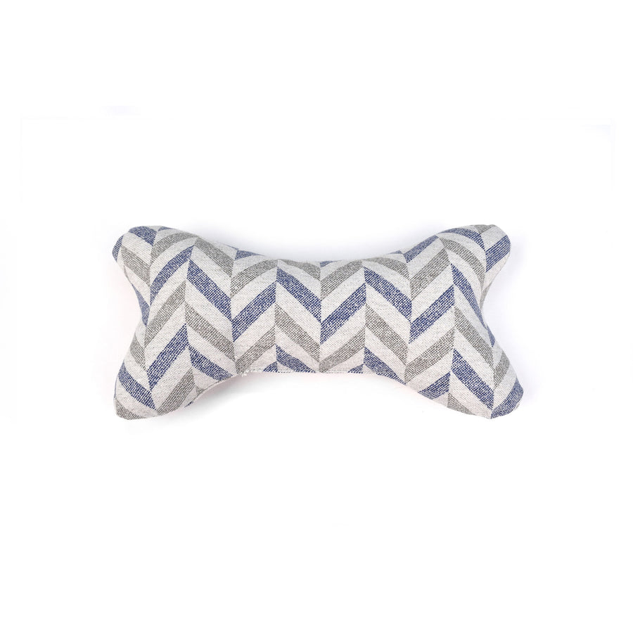Blue grey chevron patterned bone shaped fabric dog toy project blu danube
