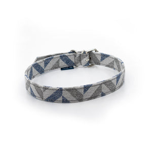 Blue grey fabric ecofriendly dog collar project blu danube