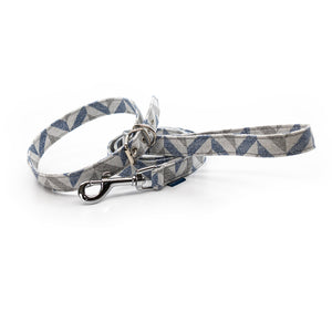 Blue grey neutral muted fabric ecofriendly dog collar leash set matching project blu danube