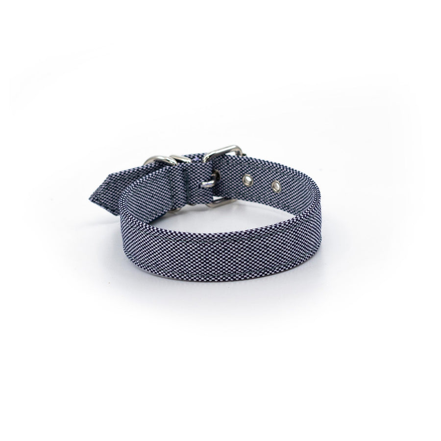 Blue white ecofriendly dog collar fabric made recycled plastic bottles project blu bengal
