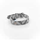 Grey chevron ecofriendly dog collar fabric made from recycled plastic bottles project blu goa