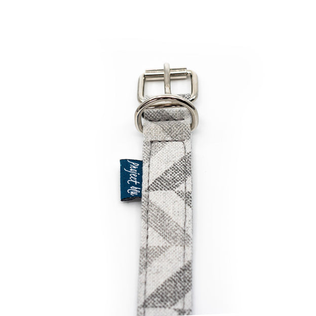 Grey chevron fabric ecofriendly dog collar close up project blu goa