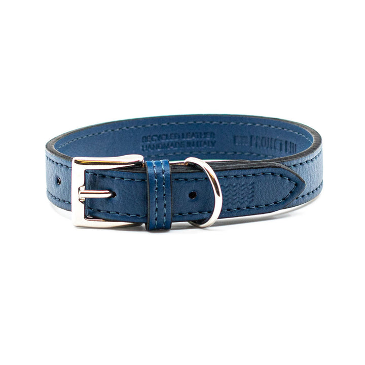 Blue Recycled Leather Dog Collar