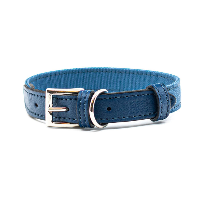 Blue fabric and leather dog collar