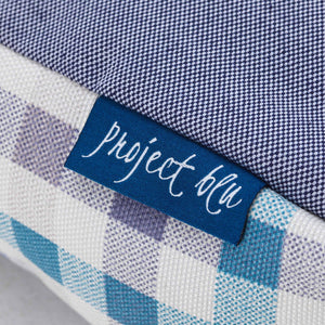 blue chequered fabric comfortable ecofriendly dog nest bed close up project blu bengal