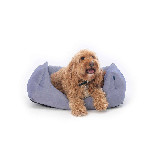 blue white ecofriendly soft cosy fabric dog nest bed project blu bengal