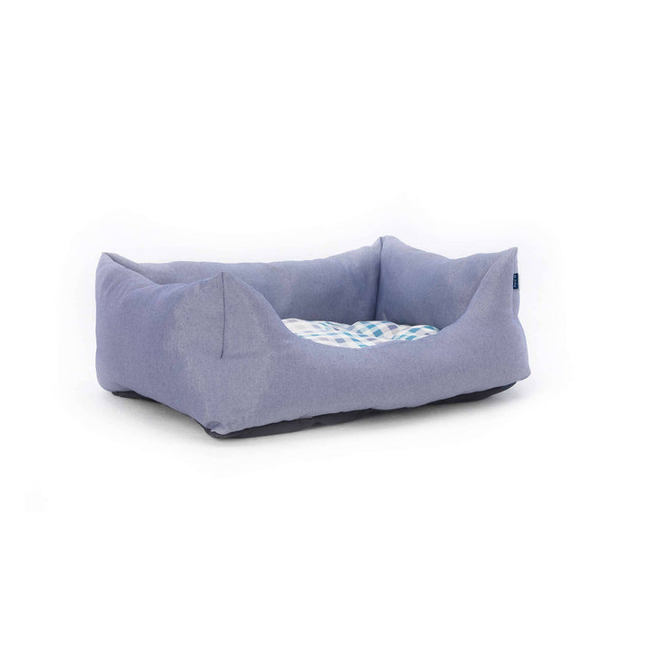 blue white ecofriendly soft cosy fabric dog nest bed side view project blu bengal