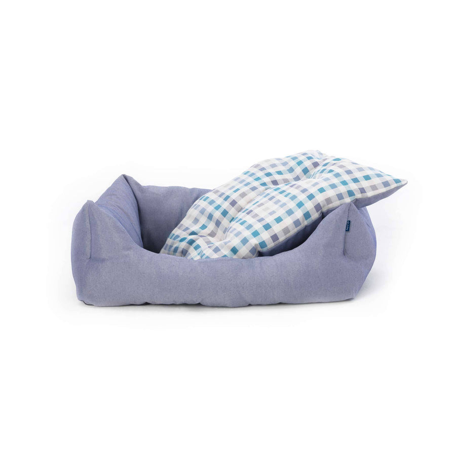 blue white ecofriendly soft cosy fabric dog nest bed with washable cover removable cushion project blu bengal