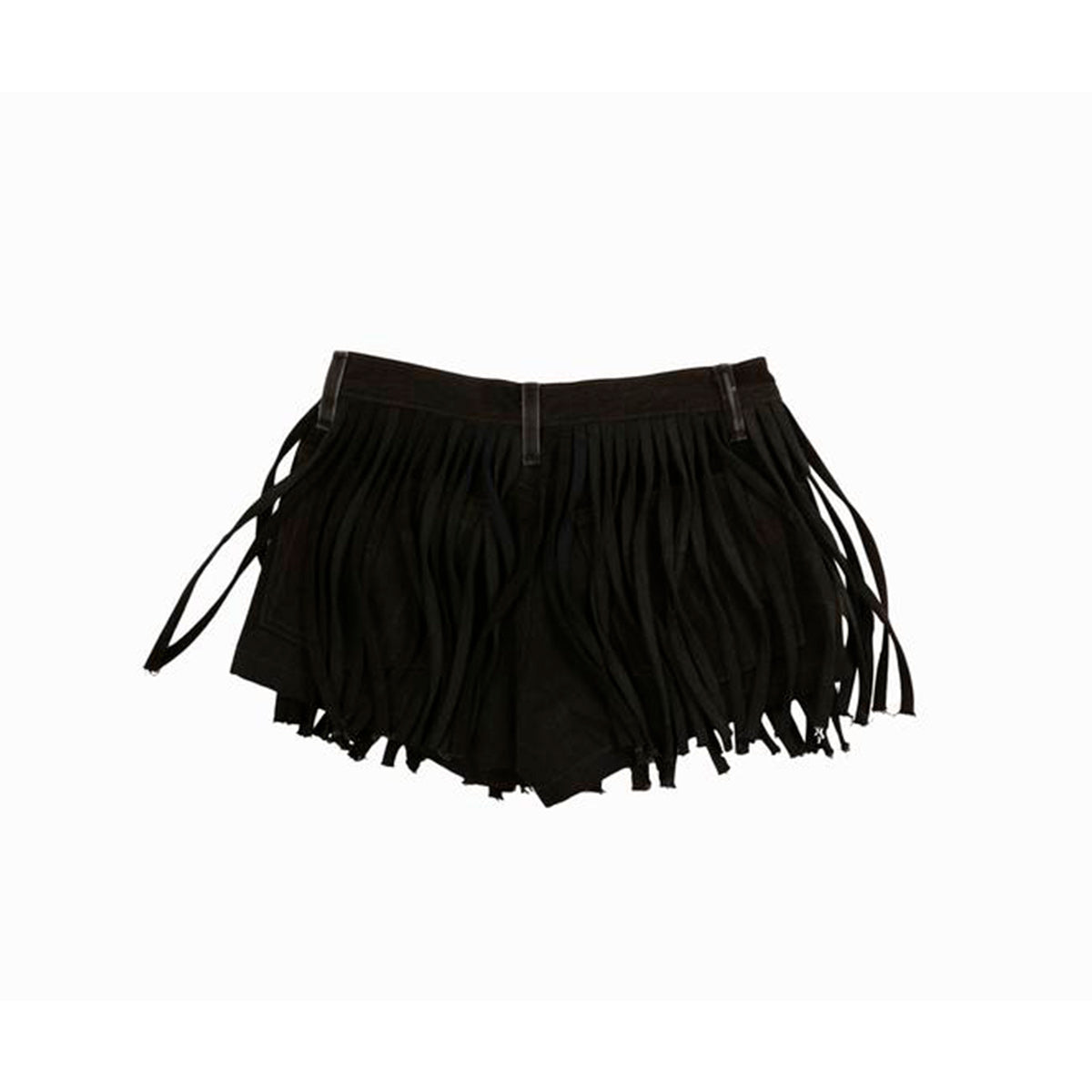 Black Denim Fringe Shorts