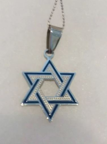 NECKLACE - STAR OF DAVID STAINLESS W/BLUE ENAMEL