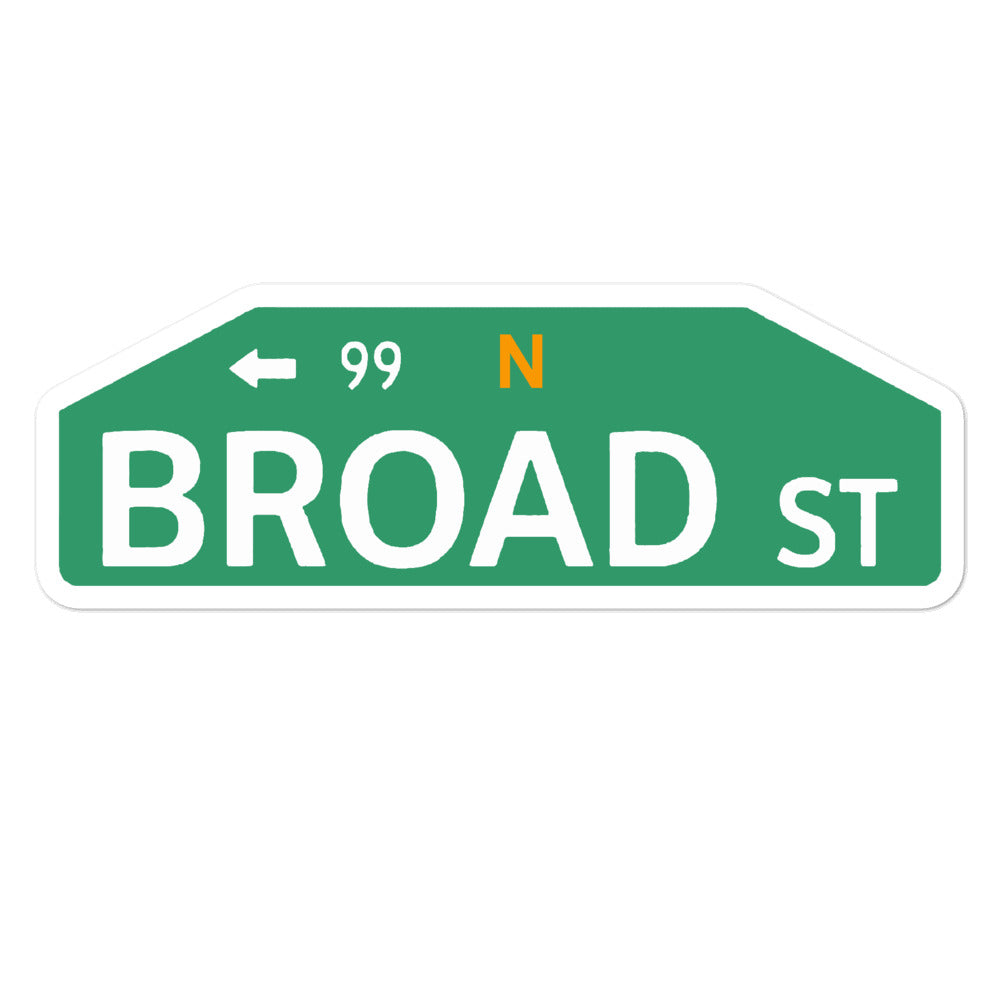 Broad St Sign Sticker