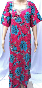 Ankara Dress  - Pink and Blue with Stones