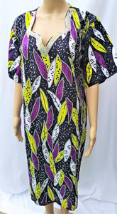 Ankara Dress  - Purple, Lemon, and White with Stones (Short)