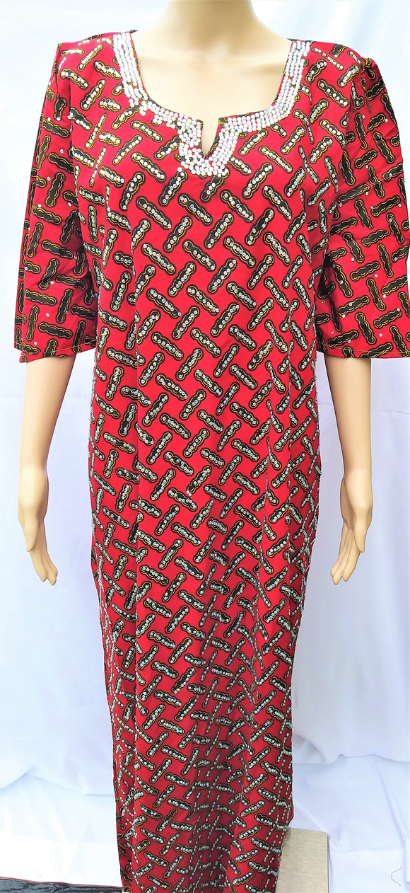 Ankara Dress  - Red with Stones