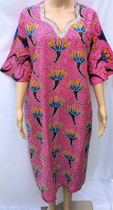 Ankara Dress  - Pink with Stones (Short)