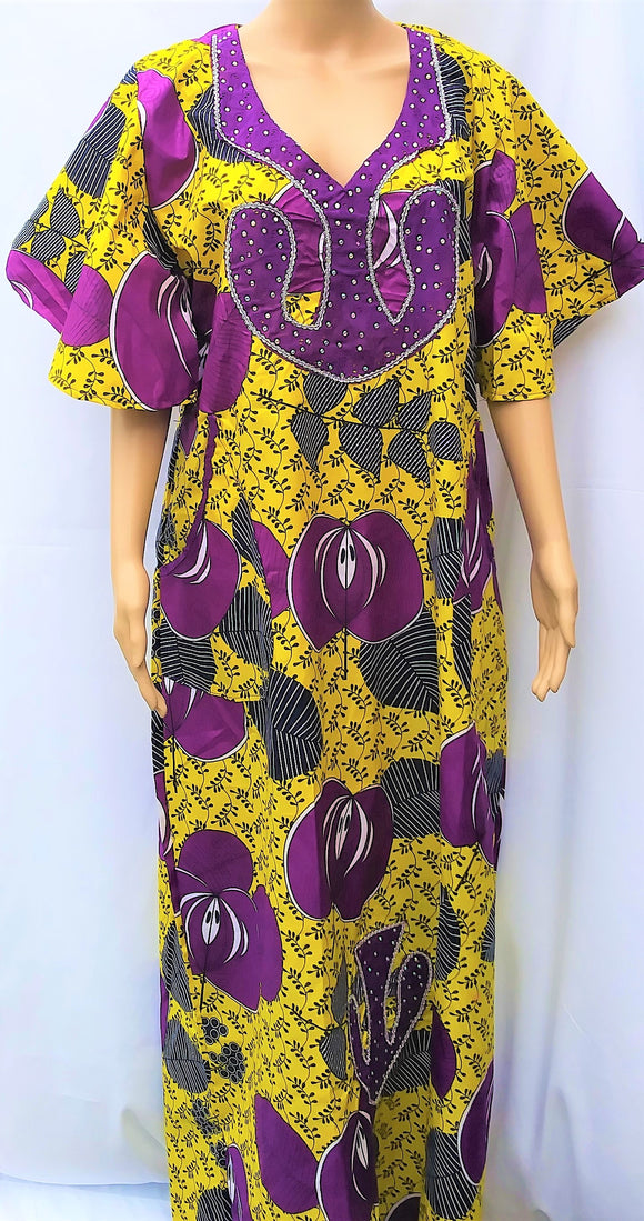 Ankara Dress  - Purple and Yellow with Stones
