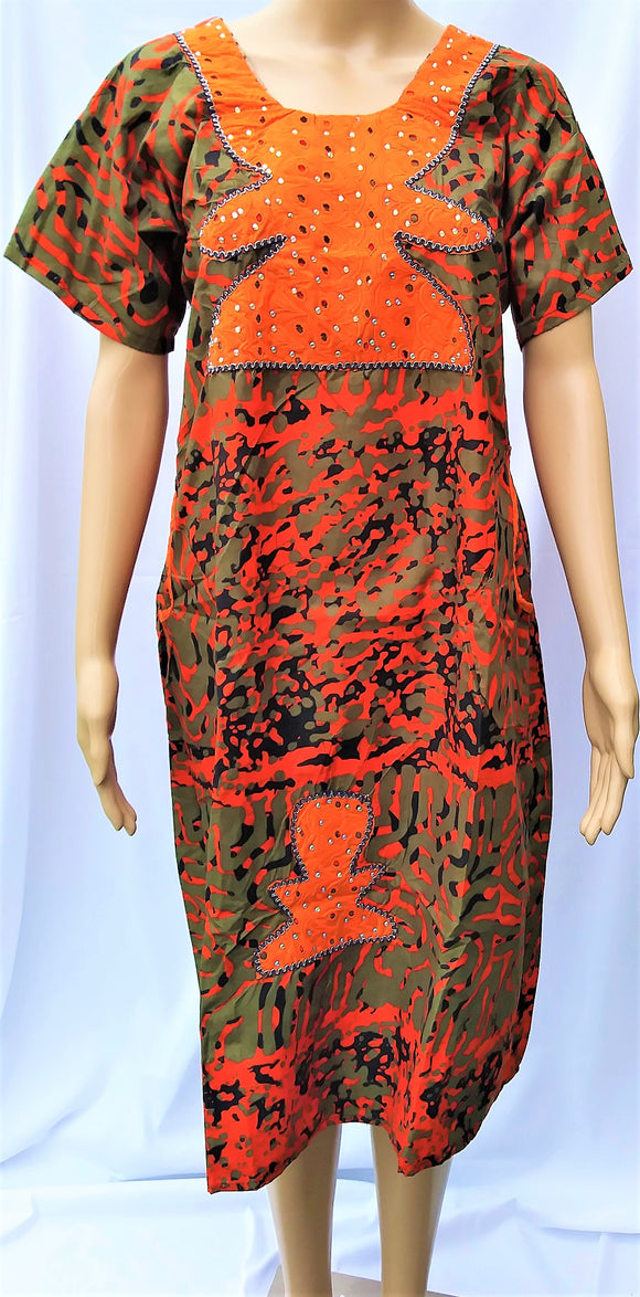 Ankara Dress  - Olive Green and Orange with Stones (Short)