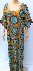 Ankara Dress  - Brown with Stones