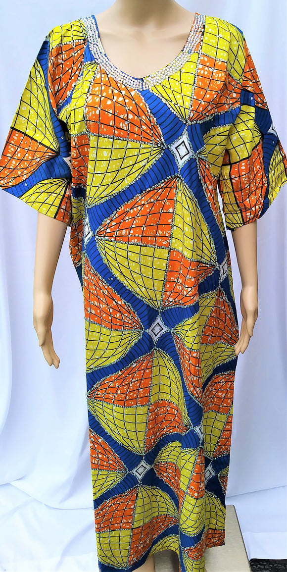 Ankara Dress  - Yellow with Stones