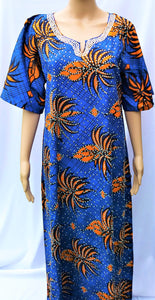 Ankara Dress  - Blue with Stones