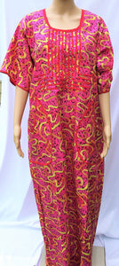 Ankara Dress  - Pink and Yellow with Stones