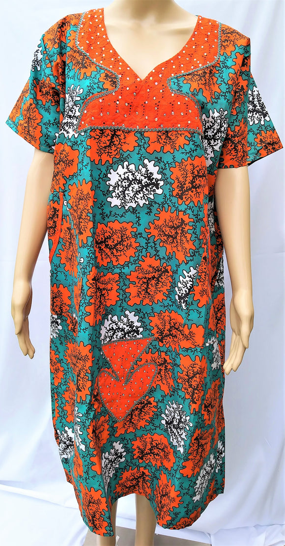 Ankara Dress  - Orange, White, and Green with Stones (Short)