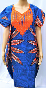 Ankara Dress  - Blue with Stones (Short)