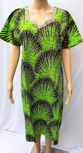 Ankara Dress  - Green with Stones (Short)