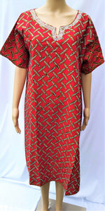Ankara Dress  - Red with Stones (Short)