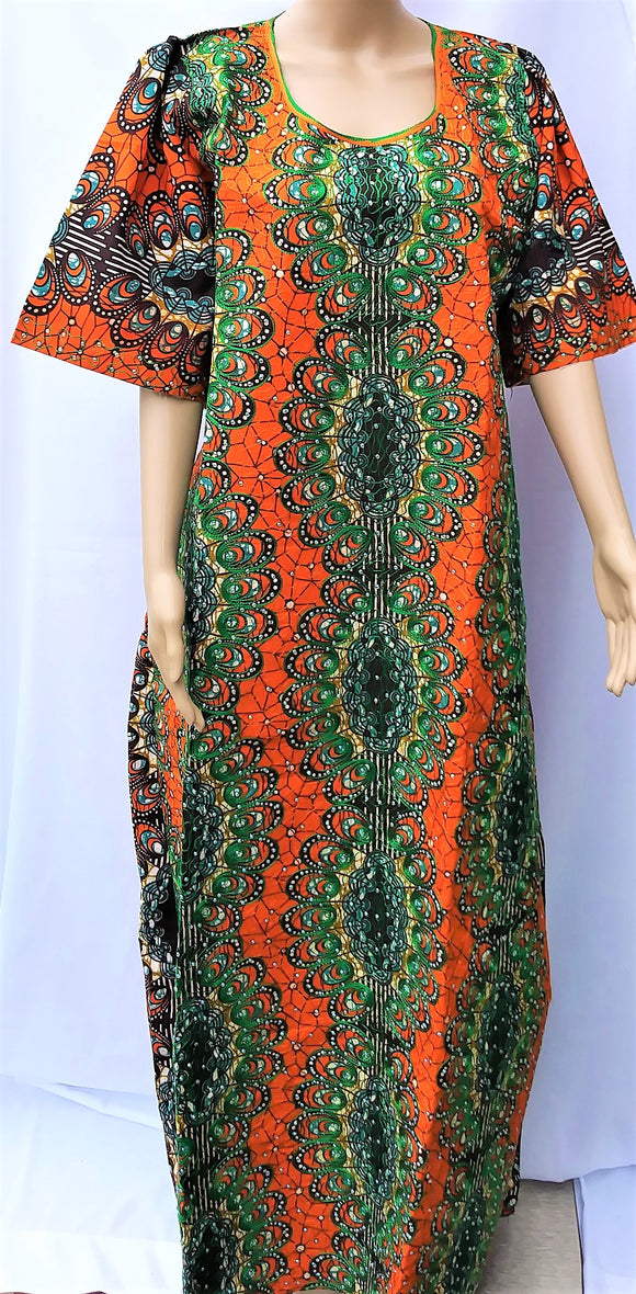 Ankara Dress  - Orange Embroidered with Stones