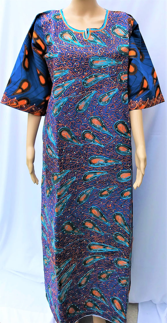Ankara Dress  - Blue Embroidered with Stones