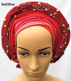 AutoGele (Aso Oke) - Red/Silver