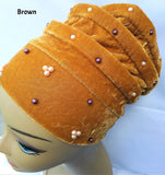 Turban Hat with Pearls  (Various Colors)