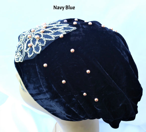 Turban Hat with Embroidery (Various Colors)