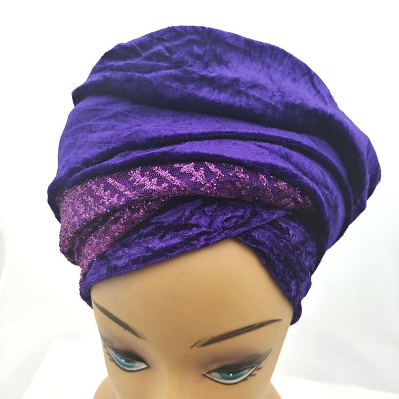 Turban Head Wrap with Sequins/Stone (Various Colors)