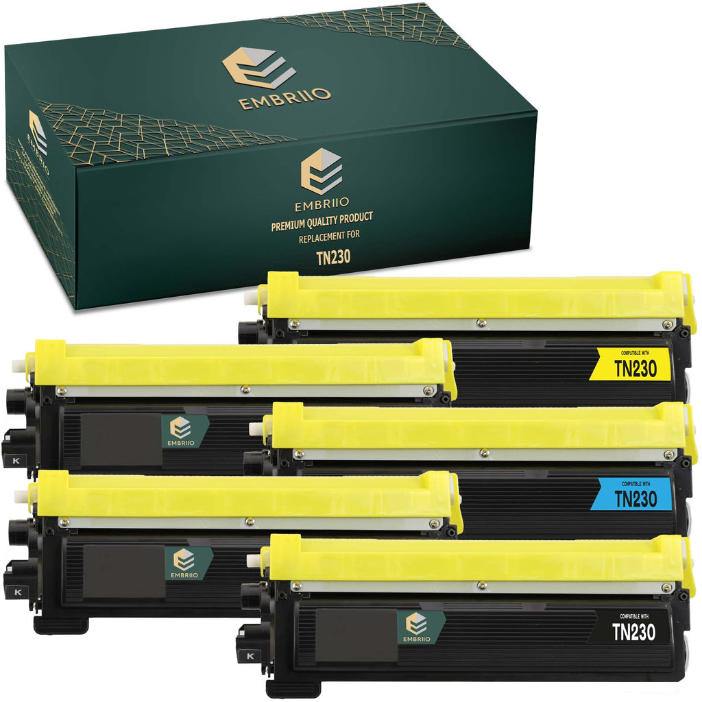 EMBRIIO TN-230 Set of 5 Compatible Toner Cartridges Replacement for Brother HL-3040CN HL-3045CN HL-3070CN HL-3070CW HL-3075CW DCP-9010CN MFC-9120CN MFC-9320CW