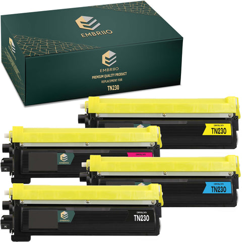 EMBRIIO TN-230 Set of 4 Compatible Toner Cartridges Replacement for Brother HL-4140CN HL-4150CDN HL-4570CDW HL-4570CDWT DCP-9055CDN DCP-9270CDN MFC-9460CDN MFC-9465CDN MFC-9970CDW